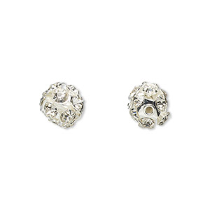bead, egyptian crystal rhinestone and imitation rhodium-plated brass, clear, 8mm round. sold per pkg of 6.