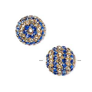 bead, egyptian glass rhinestone / epoxy / resin, champagne and cobalt, 14mm round with pave striped design. sold individually.