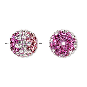 bead, egyptian glass rhinestone / epoxy / resin, clear / dark pink / fuchsia, 14mm round with pave wave design. sold individually.