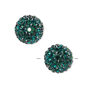 bead, egyptian glass rhinestone / epoxy / resin, dark green, 14mm round. sold individually.