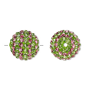 bead, egyptian glass rhinestone / epoxy / resin, green and dark pink, 14mm round with pave striped design. sold individually.