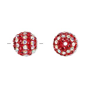 bead, egyptian glass rhinestone / epoxy / resin, red and clear ab, 12mm round with pave striped design. sold individually.