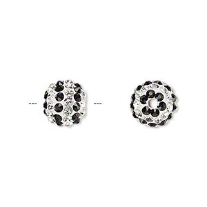 bead, egyptian glass rhinestone / epoxy / resin, white / clear / black, 10mm round with pave striped design. sold individually.