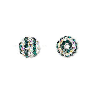 bead, egyptian glass rhinestone / epoxy / resin, white / dark green / clear ab, 10mm round with pave striped design. sold individually.