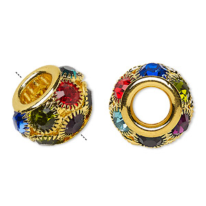 bead, egyptian glass rhinestone and gold-finished pewter (zinc-based alloy), multicolored, 18x12mm rondelle with 8mm hole. sold individually.
