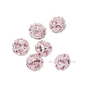 bead, egyptian glass rhinestone and imitation rhodium-plated brass, pink, 8mm round. sold per pkg of 6.