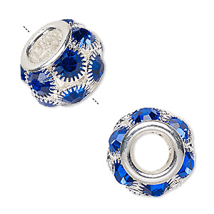 bead, egyptian glass rhinestone and silver-plated pewter (zinc-based alloy), dark blue, 18x12mm rondelle with 8mm hole. sold individually.