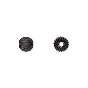 bead, electro-coated brass, black, 6mm corrugated round. sold per pkg of 10.