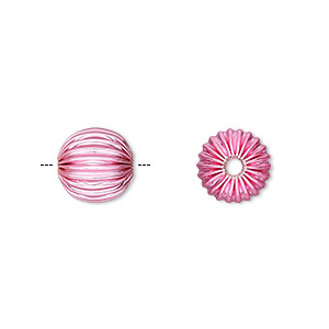 bead, electro-coated brass, pink, 10mm corrugated round. sold per pkg of 10.