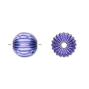 bead, electro-coated brass, purple, 12mm corrugated round. sold per pkg of 10.