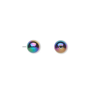 bead, electroplated hemalyke™ (man-made), rainbow, 6mm half-drilled round with 0.9mm hole. sold per pkg of 4.