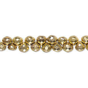 bead, electroplated pyrite (stabilized / coated), gold, 4x4mm-5x5mm hand-cut top-drilled faceted teardrop, c grade, mohs hardness 6. sold per 4-inch strand.