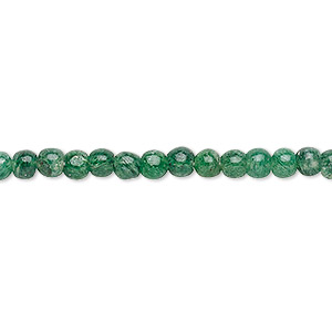 bead, emerald green aventurine (natural), 3-4mm hand-cut round, c+ grade, mohs hardness 7. sold per 12-inch strand.