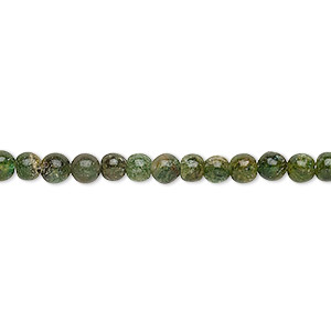 bead, emerald green aventurine (natural), 3-4mm hand-cut round, d grade, mohs hardness 7. sold per 12-inch strand.