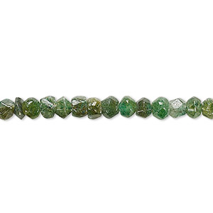 bead, emerald green aventurine (natural), 4x3mm-5x4mm hand-cut faceted rondelle, d- grade, mohs hardness 7. sold per 13-inch strand.