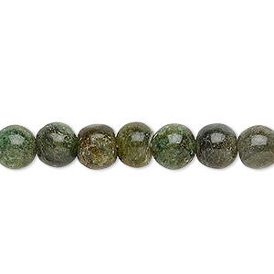bead, emerald green aventurine (natural), 6-7mm hand-cut round, d grade, mohs hardness 7. sold per 12-inch strand.