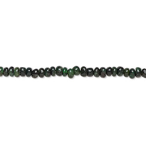 bead, emerald (natural), 3x1mm-4x3mm hand-cut rondelle, d- grade, mohs hardness 7-1/2 to 8. sold per 16-inch strand.