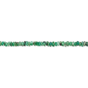 bead, emerald (oiled), 2x1mm-3x2mm hand-cut rondelle, d grade, mohs hardness 7-1/2 to 8. sold per 12-inch strand.