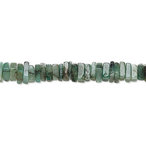 bead, emerald (oiled), 4x1mm-6x2mm hand-cut square rondelle, c- grade, mohs hardness 7-1/2 to 8. sold per 8-inch strand, approximately 95-150 beads.