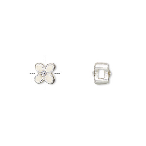 bead, enamel / glass rhinestone / silver-finished pewter (zinc-based alloy), white and clear, 6x6mm cross-drilled double-sided flower with 2mm hole. sold per pkg of 4.