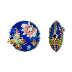 bead, enamel / gold-finished copper / glass rhinestone, multicolored, 19mm puffed round with butterfly and flower. sold per pkg of 4.