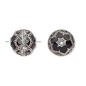 bead, enamel and antique silver-plated brass, opaque black, 14mm beaded round. sold individually.