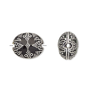 bead, enamel and antique silver-plated brass, opaque black, 16x13.5mm beaded puffed oval. sold individually.