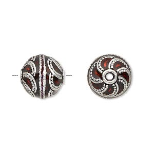 bead, enamel and antique silver-plated brass, transparent red, 12.5mm beaded round. sold individually.