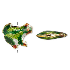 bead, enamel and gold-finished copper, multicolored, 19x17mm tree frog. sold per pkg of 4.