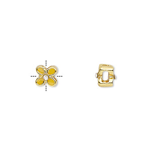 bead, epoxy / glass rhinestone / gold-finished pewter (zinc-based alloy), yellow and clear, 6x6mm cross-drilled double-sided flower with 2mm hole. sold per pkg of 4.