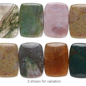 bead, fancy jasper (natural), 18x13mm double-drilled rectangle with 0.5-1.5mm holes, b grade, mohs hardness 6-1/2 to 7. sold per 8-inch strand, approximately 15 beads.