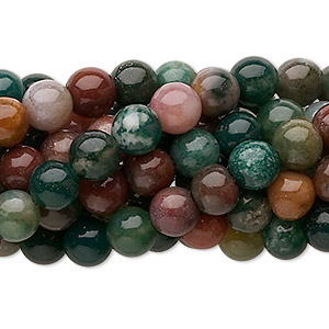 bead, fancy jasper (natural), 6mm round, c grade, mohs hardness 6-1/2 to 7. sold per pkg of (10) 16-inch strands.
