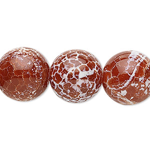 bead, fire crackle agate (dyed / heated), 16mm round, b grade, mohs hardness 6-1/2 to 7. sold per 16-inch strand.