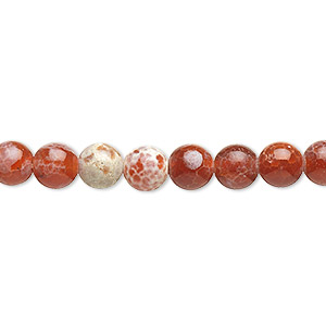 bead, fire crackle agate (dyed / heated), 6mm round, b grade, mohs hardness 6-1/2 to 7. sold per 16-inch strand.