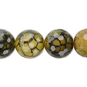 bead, fire crackle agate (dyed / heated), green, 16mm faceted round, b grade, mohs hardness 6-1/2 to 7. sold per 8-inch strand, approximately 10 beads.