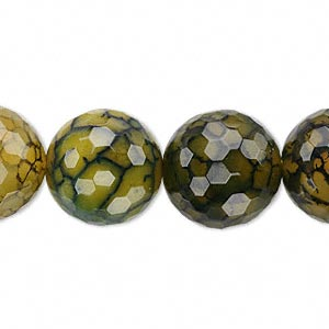 bead, fire crackle agate (dyed / heated), green, 16mm faceted round, b grade, mohs hardness 6-1/2 to 7. sold per 16-inch strand.