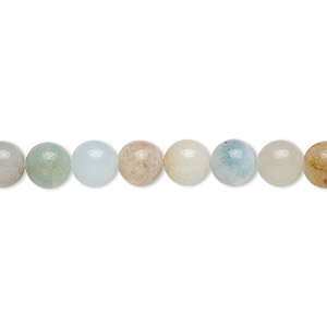 bead, flower amazonite (natural), 6mm round, b grade, mohs hardness 6 to 6-1/2. sold per 16-inch strand.
