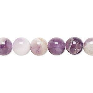 bead, flower amethyst (natural), 8mm round, c grade, mohs hardness 7. sold per 16-inch strand.
