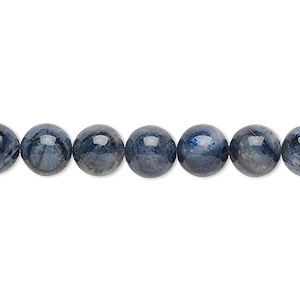 bead, flower dumortierite (natural), 8mm round, b grade, mohs hardness 7. sold per 16-inch strand.