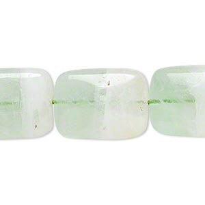 bead, fluorite (natural), green and white, 20x15mm hand-cut puffed rectangle, b grade, mohs hardness 4. sold per 16-inch strand.