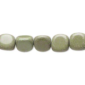 bead, forest green serpentine (natural), medium to large pebble, mohs hardness 2-1/2 to 6. sold per 15-inch strand. minimum 3 per order.