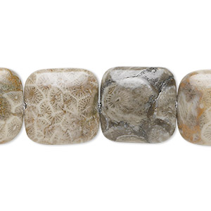 bead, fossil coral (natural), 16x16mm square, b grade, mohs hardness 6-1/2 to 7. sold per 16-inch strand.