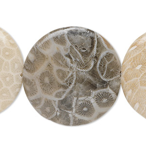 bead, fossil coral (natural), 30mm flat round, b grade, mohs hardness 6-1/2 to 7. sold per 16-inch strand.