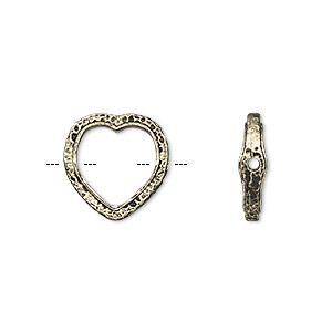 bead frame, antique gold-finished pewter (zinc-based alloy), 14mm open heart with hammered edge and 0.7-0.8mm hole, fits up to 10mm bead. sold per pkg of 2.