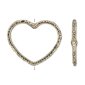bead frame, antique gold-finished pewter (zinc-based alloy), 28x24mm open heart with hammered edge and 0.7mm-0.8mm hole, fits up to 16mm bead. sold per pkg of 2.