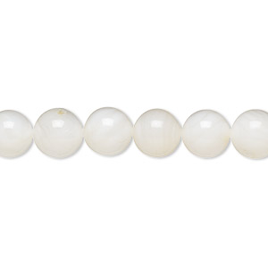 bead, freshwater pearl shell (bleached), white, 8mm round, mohs hardness 3-1/2. sold per 16-inch strand.