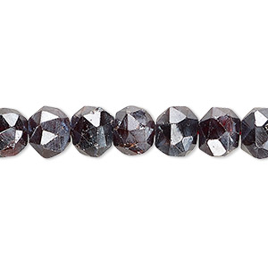 bead, garnet (coated), luster, 8x6mm-9x8mm hand-cut faceted rondelle, c grade, mohs hardness 7 to 7-1/2. sold per 8-inch strand.