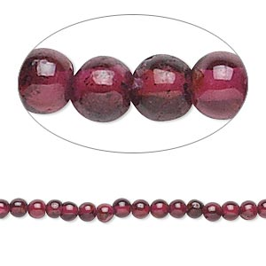 bead, garnet (dyed), 2.5-3.5mm hand-cut round, c grade, mohs hardness 7 to 7-1/2. sold per 16-inch strand.