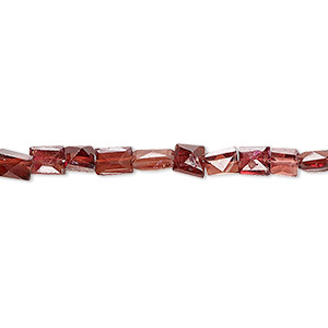 bead, garnet (dyed), 3mm-7x5mm hand-cut faceted puffed rectangle, b grade, mohs hardness 7 to 7-1/2. sold per 8-inch strand.