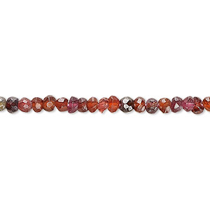 bead, garnet (dyed), 3x2mm-5x3mm hand-cut faceted rondelle, d grade, mohs hardness 7 to 7-1/2. sold per 13-inch strand.